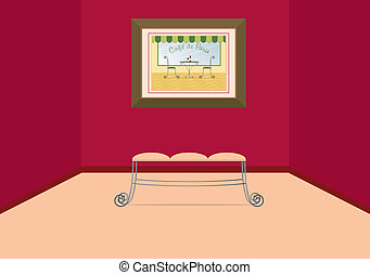 Art Gallery - A vector image of a wrought iron bench at the...