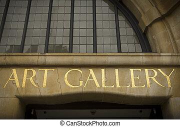 Art gallery - Golden sign outside city art gallery