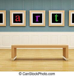 art gallery - modern art gallery with wooden bench -...