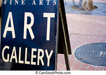 Art Gallery Sign - A fine arts gallery sign on a San Diego...