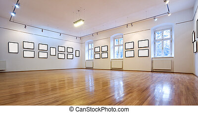 Art gallery with blank pictures - Empty art gallery view...