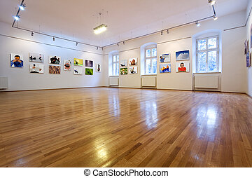 Art gallery with different pictures - Empty art gallery view...