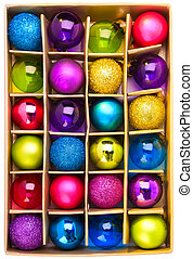 Art gift box with bright colored Christmas balls
