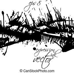art graphique, éclaboussure, taches, reprise, seamless, modèle, acrylique, vecteur, noir, sale, encre, désordre, monochrome, scanned., blanc, toile de fond, chevauchement