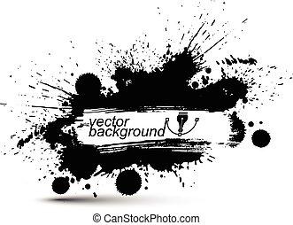 art graphique, éclaboussure, taches, seamless, modèle, reprise, chevauchement, vecteur, noir, traced., encre, monochrome, blanc, balayé, acrylique, toile de fond, sale