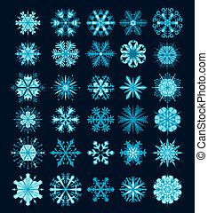 art graphique, flocons neige, flocon neige, vecteur, icons.,...