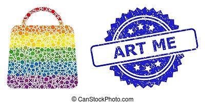 art, gratté, clair, cachet, géométrique, sac à provisions, collage, me, timbre