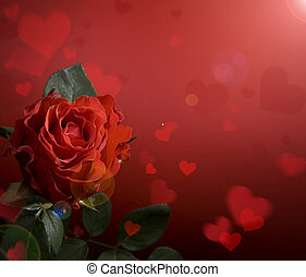 art greeting card with red roses and heart