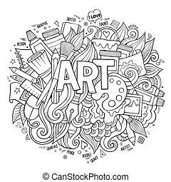 Art hand lettering and doodles elements. Vector illustration