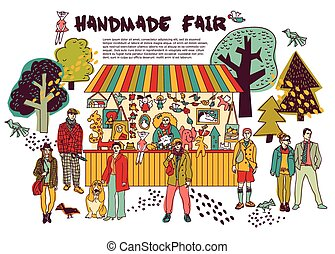 Art hand made fair toys in park outdoor.