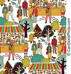 Art hand made fair toys in park outdoor seamless pattern.