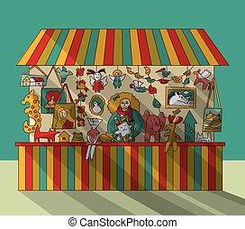 Art hand made fair toys seller. Color vector illustration. ...