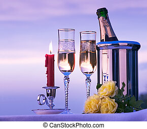 Art happy romantic dinner with wine on the sky background