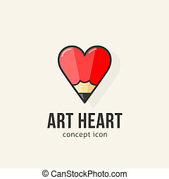 Art heart abstract vector concept icon