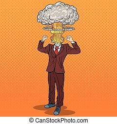 art, homme affaires, illustration, vecteur, pop, accentué, head., explosion