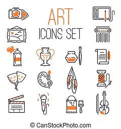 Art icons set vector.