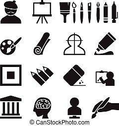 Art icons set vector illustration