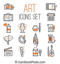 Art icons set vector.