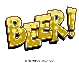 art, illustration, bière, vecteur, pop, mot, livre comique