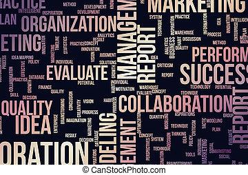 art, illustration., business, &, communication, résumé, arrière-plan., typographie, conception, créativité, mots, generative, nuage