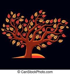 Art illustration of autumn branchy tree, stylized ecology symbol. Graphic design vector image on season idea, environmental conservation idea.