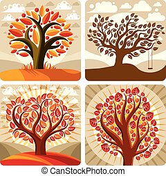 Art illustration of orange trees growing on beautiful...