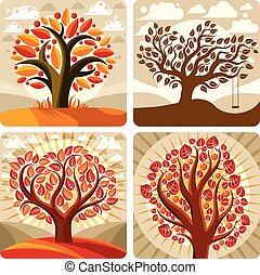 Art illustration of orange trees growing on beautiful...