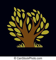 Art illustration of spring branchy tree, stylized eco symbol. Graphic design vector image on season idea, beautiful picture.