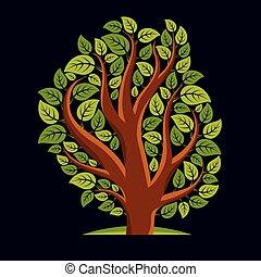 Art illustration of spring branchy tree, stylized ecology ...