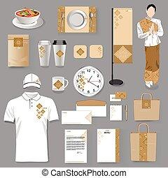 art, illustration., restaurant, vecteur, thaï, identité corporation, design.