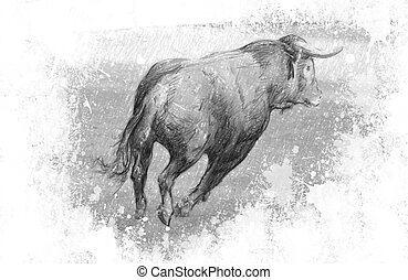Art illustration, Spanish bull in the bullring with sand