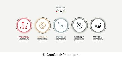 Vector design circle work segment explanations can be easily understood,report,education and work process.infographic.