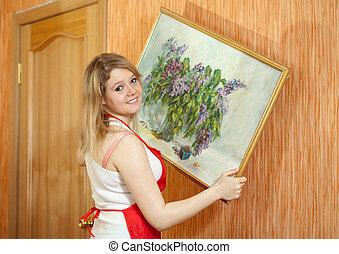 art, image, femme, pend, mur