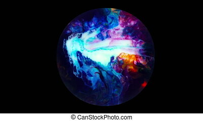 Art Ink Paint Explode Diffusion in Sphere