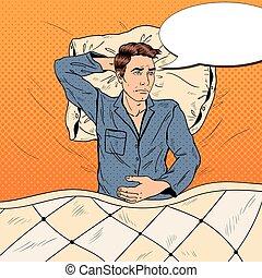 art, insomnie, lit, souffrance, vecteur, illustration, pop, sleeplessness., homme