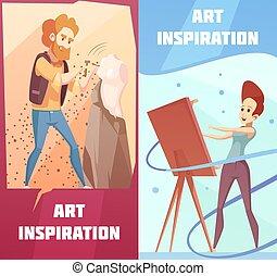 Art Inspiration Cartoon Banners Set