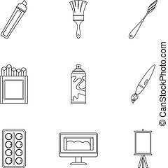 Art instruments icons set, outline style