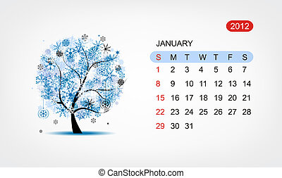art, january., arbre, vecteur, conception, 2012, calendrier