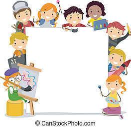 Illustration of Kids Holding Paintbrushes Surrounding a Blank Board