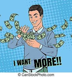 art, lancement, argent., pop, réussi, vecteur, illustration, riche, dollar., homme affaires, homme