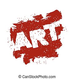 Art lettering logo in grunge style. Spray and scratches. Noise and brush strokes. creative emblem