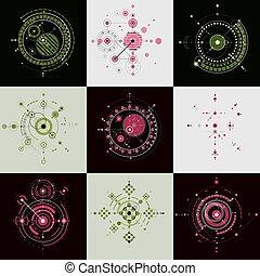 art, lignes, 1960s, design., pattern., bauhaus, circles., retro, technologique, géométrique, être, utilisé, livret, illustration, fait, collection, fond, utilisation, graphique, couverture, vecteur, boîte, papiers peints