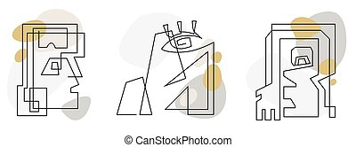 Art line signes. Fase of drawing abstract people. Modern continuous vecor illustrations. Beatiful minimalist for design concept on white background.