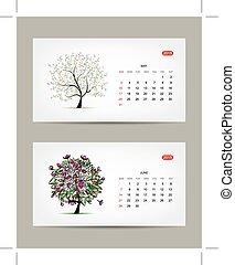 art, mai, juin, arbre, months., vecteur, conception, calendrier, 2015