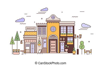 art, maison, élégant, rue, style., paysage, ville, bakeshop,...