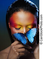 Art makeup, the image with butterfly. Eyeshadow