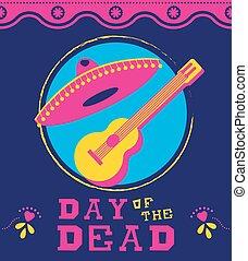 art, mariachi, mort, décoration, mexicain, jour