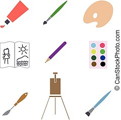 Art materials icons set. Vector illustration.
