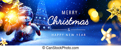 Art Merry Christmas and Happy Holidays greeting card, banner. New Year. Noel.