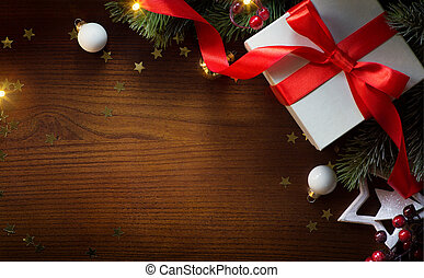 art merry Christmas and happy New year background; Christmas tree and holiday gift